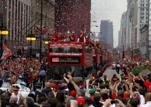 芝加哥黑鹰队胜利游行全城轰动