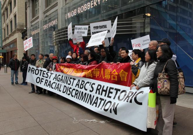美国ABC电视台脱口秀辱华游行示威