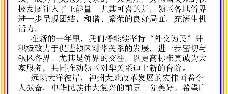 赵卫平总领事新春贺词